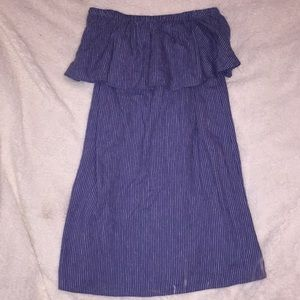 Off the Shoulder XS Blue dress with White Stripes